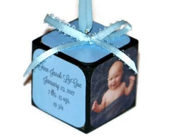 Baby's 1st Christmas Ornament | Personalized photo keepsake | Square wooden block | Baby's First Christmas | Baby Blue Boy Christmas