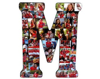 "Senior Graduation Gift 2019 Senior Night Graduation Decorations Graduation Photo Display Letter with Pictures 18"" Letter Photo Collage M"