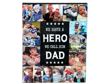 Father's Day Gift Frame Dad Photo Gift Collage of Pictures of Daddy and me, Dad is my Hero Frame