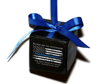 Thin Blue Line Police Personalized Police Officer Ornament | Christmas Ornament Handmade | Photo Ornament | Police Officer Blue | Blue Badge