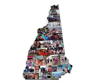 New Hampshire State Wood Cut out | NH State Collage | State Collage with Photos | Moving away gift | Missing Home Gift | College Dorm Room