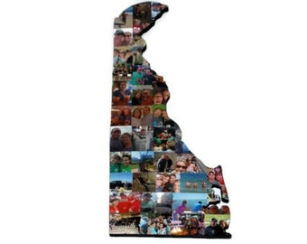 DELAWARE Wood Cutout, Wall Display, Custom State Collage, State Collage Gift, College Dorm Gift, Moving Away, Missing Home State of Delaware