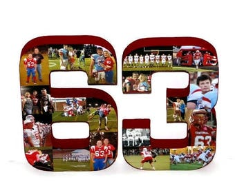 3D Number Photo Collage Two Digit Birthday Anniversary Party Senior Night Jersey Number Graduation Football, Soccer, Baseball Basketball #66