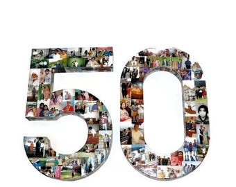 50th Birthday Number 50 Birthday Keepsake Fifty Fiftieth Birthday Party Decoration Number 50 Collage