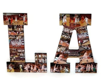 Wooden Letters Two | Photo Letter Collage | Picture Senior night | College Dorm Room | Couple Wedding Gift | Initial with Photos | Graduate