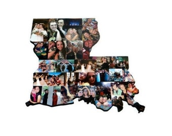 Louisiana State Wood Cut out | LA State Collage | State Collage with Photos | Moving away gift | Missing Home Gift | College Dorm Room