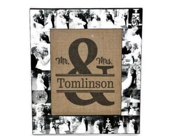 Mr. & Mrs. Ampersand Burlap Family established Last name date Photo frame Collage Namesake Wedding Gift Monogram Initial Rustic Husband