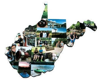 WEST VIRGINIA State Wood Cut out | WV State Collage | State Collage with Photos | Moving away gift | Missing Home Gift | College Dorm Room