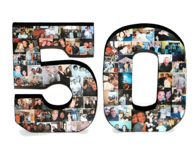 Featured listing image: Freestanding 50th Birthday Gift, 50th Anniversary Gift, Wood 3D Stand Alone Birthday Decoration, Anniversary  Collage, Custom Photo Collage,