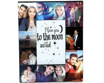 I love you to the moon and back Frame Collage Picture Photo Frame College Sibling Boyfriend Girlfriend Nephew Niece Gift Valentines Day