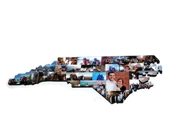 NORTH CAROLINA State Wood Cut out | NC State Collage | State Collage with Photos | Moving away gift | Missing Home Gift | College Dorm Room