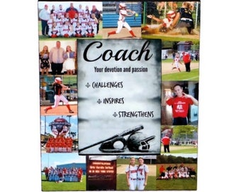 Baseball Coach Picture Frame, Softball Photo Collage, Thank you coach gift, Personalized Baseball Photo Frame, Personalized Coach Frame
