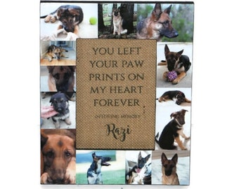 Loss of Pet | You left a paw print on our hearts forever | Pet Memorial Frame | Pet Frame | In Loving Memory Frame | Rainbow Bridge | Dog