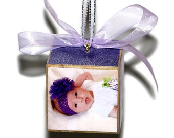 """Ornament Custom photo square wooden block Christmas keepsake baby's first christmas, our first christmas our first home 2"""" or 3"""""""