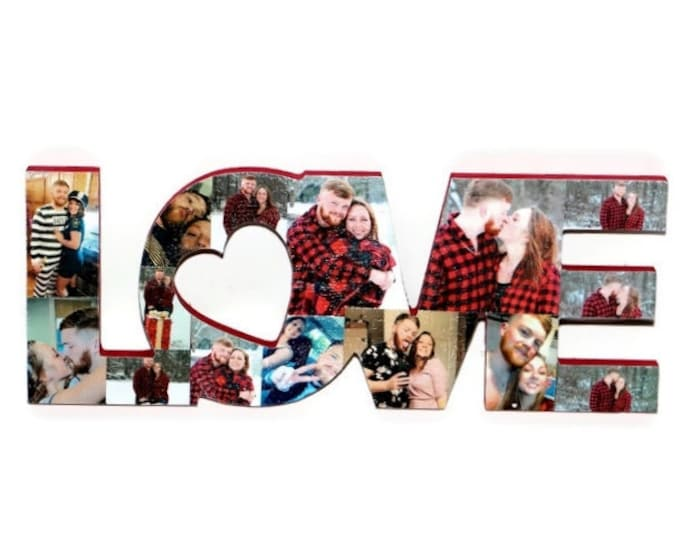 Featured listing image: Gift for boyfriend, Gift for Wife, Valentine's Day Gift, LOVE cutout, Love photo collage, Valentines Day Photo Gift, Valentines Day Gift,