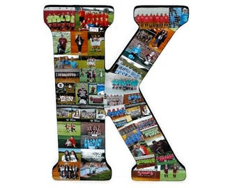Photos on Wood | Last Game | Letter Photo Collage | Free Shipping to US residents | Letter K D S Photo Collage Letter | Letter with Photos,