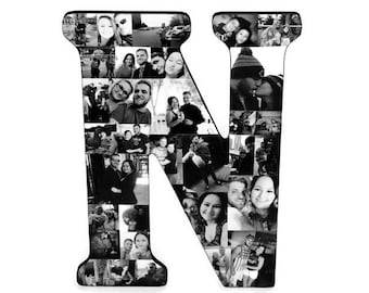 N Collage | Wall Collage Decoration | Photo Collage | Photos Gift | Custom Photo Collage Letter | Wall Art | Photo Letters | Initial Picture