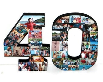 Freestanding 40th Birthday Gift, 40th Anniversary Gift, Wood 3D Stand Alone Birthday Decoration, Anniversary  Collage, Custom Photo Collage,