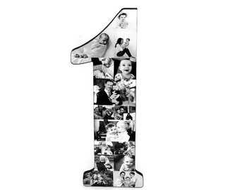 "Number 1 One with Photos Number Collage Baby's First Birthday One Year Wedding Anniversary 18"" Huge Wooden Number Jersey Number Baby 1st"