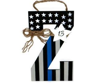 Thin blue line American Flag Letter Wreath Door Wreath Decoration Police Officer Peace Patriotic Initial Letter Monogram Door Wreath Hanger