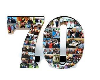 """Number 70 70th Birthday 70th Anniversary Number Photo Collage 18"""" Senior Night Jersey Number Graduation centerpiece Surprise Party Decor"""