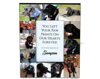 You left a paw print on my heart forever Pet Memorial Frame Pet Frame In Loving Memory Frame Rainbow Bridge Custom Cat Dog Frame Collage