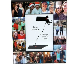 State to State Long Distance Friendship frame, Best Friends Gift, Moving away Best Friend Frame, Out of State Friend Gift, Photo Frame Gift