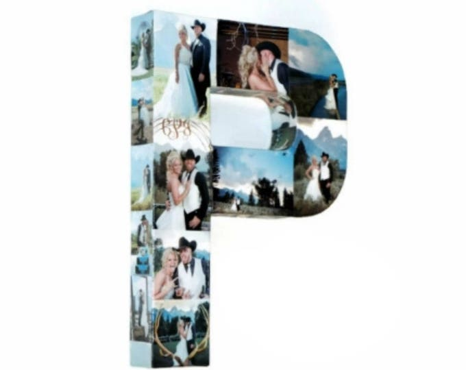 Featured listing image: Letter Photo Collage Custom memories gift paper mache Wedding Bridal Shower Personalize Engagement Decoration Best Friend Photo Frame