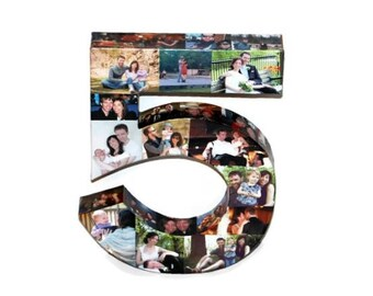 5 5th Anniversary Photo Letter Number 5th Wedding Anniversary 5th Birthday Number 5 Five Picture Collage 360' 3D Rare photo frame 5 years
