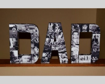 """Custom Photo Letter the word DAD 12"""" Paper Mache Fathers Day Mothers Day Birthday Decor  in time for Father's Day Custom Picture Photo Art"""