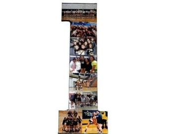 Number 1 Photo Number Collage Picture frame College Sport Wedding 1st Anniversary 1st Birthday Senior night year 2017 Jersey Number 1