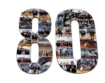 Number 80 Photo Number Collage Picture frame College Sport 80th Wedding Anniversary 80th Birthday Senior night year 2017 Jersey Number 80