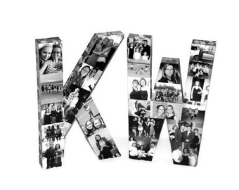 """16"""" Two Letters Photo Collage letter Girlfriend Gift, College Dorm Room, Sorority Big Little Initial 3D Free Standing"""