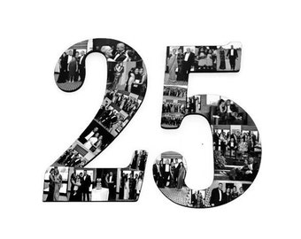 """25th Anniversary 25th Birthday 18"""" Double Digit Jersey Number Photo Collage Huge Party Senior Night  Football, Soccer, Baseball, Basketball"""