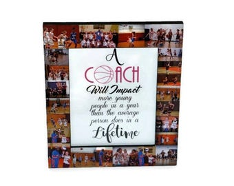 Gift for Coach Photo Frame Collage Coaches Gift, Soccer Coach, Basketball Coach, Cheer Coach, Football Coach, Baseball Coach Thank You Frame