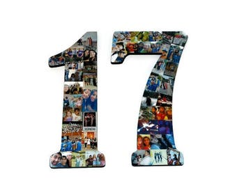 Number 17 | Photo Collage Number of Jersey Number |  17th Birthday | Senior Night | Graduation centerpiece | 2017