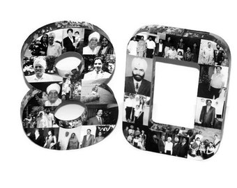 80th Birthday Wedding Anniversary 10th 30th 40th 100th Photo Number Letter Picture Collage Class Reunion Jersey 360 3D Senior 2015 Grad