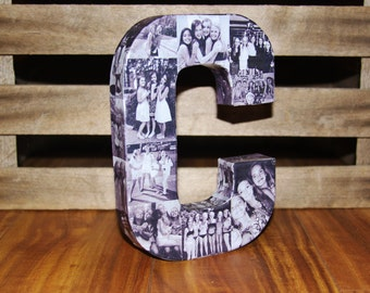 Wedding Congratulations Grad Personalized Custom Photo Picture Paper Mache Letter Collage 3D all sides any letter College Family Pet