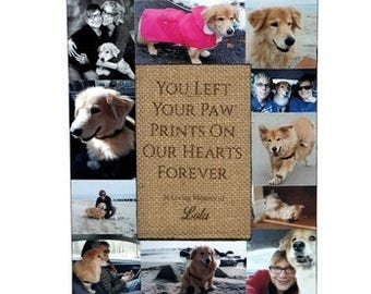 You left a paw print on our hearts forever Pet Memorial Frame Pet Frame In Loving Memory Frame Rainbow Bridge Custom Cat Dog Frame Collage