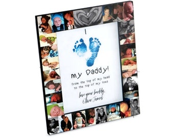 Father's Day Frame I love my Daddy, I love you Daddy, from the top of my head to the top of my toes Personalized Baby Footprints heart Gift