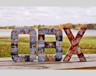 Photo Letter Collage Wall Hanging Monogram 3 letters of choice Birthday Home Wedding Anniversary Decor Picture Art Family Photos Portrait