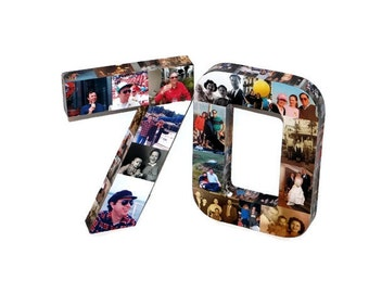 70th 75th Wedding Anniversary 21st 30th 40th Huge Photo Number Collage Senior Picture Class Reunion Birthday Graduation Jersey Number 3D