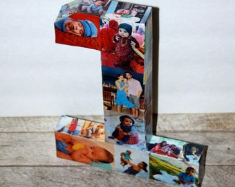 "1st Wedding Anniversary Paper Gift 12"" Photo Letter Number Picture Collage Baby's First Birthday 360' 3D Rare photo frame"