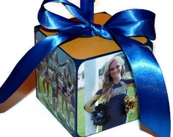 Senior Night Team Gift, Sports team gift, Team Photo Keepsake Block Ornament, Cheerleader gift, Cheer Gift, Coach Gift, Last game Football