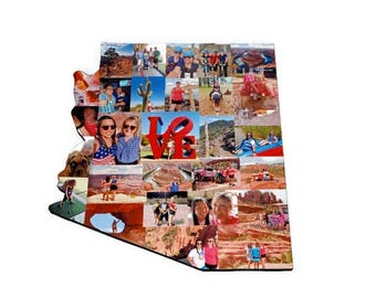 state of ARIZONA Wooden Custom State Collage Gift College Moving Missing Home Ohio Pennsylvania Michigan Florida Washington