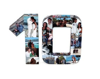 10 year Anniversary 10th Wedding Anniversary 10th Birthday Photo Collage Number Custom Picture Monogram Collage Personalize 360' 3D