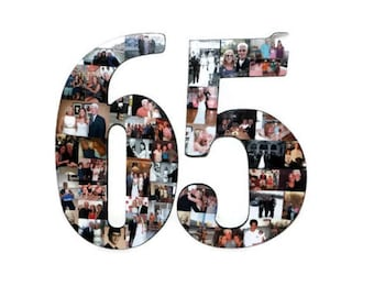 """Number 65 65th Birthday 65th Anniversary Number Photo Collage 18"""" Senior Night Jersey Number Graduation centerpiece Surprise Party Decor"""