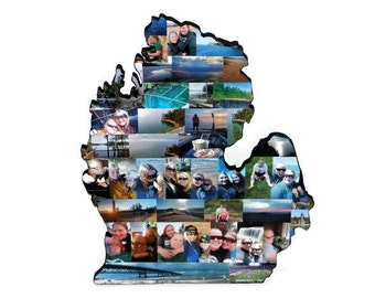 Wooden Custom State Collage Gift College Moving Missing Home New Jersey  Ohio Pennsylvania Michigan Florida Indiana