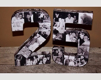 """25th Wedding Anniversary Party 50th 75th Engagement 8"""" Photo Letter Custom Picture Monogram Collage Personalize Birthday Party Decor 360' 3D"""