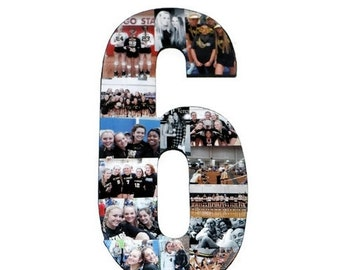 Number Photo Number Collage Picture frame College Sport 6th Wedding Anniversary 6th Birthday Senior night year 2017 Jersey Number 6